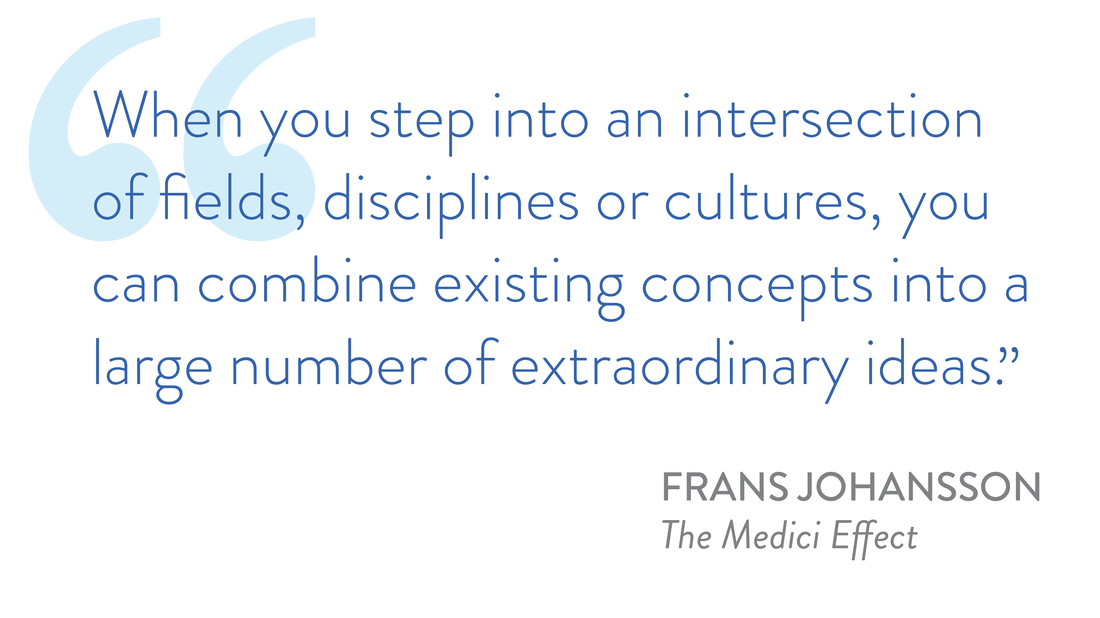 graphic of a quote by Frans Johansson from his book the Medici Effect: